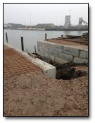 Construction of the remaining slipway wall is rapid